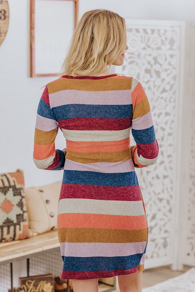 Anchored To You Striped Waist Tie Long Sleeve Sweater Dress in Multi-Color - Filly Flair
