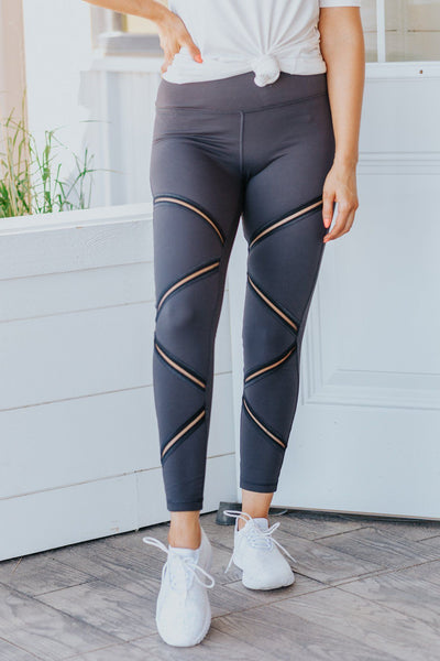 Jumping For Joy Zig-Zag Mesh Leggings in Charcoal - Filly Flair