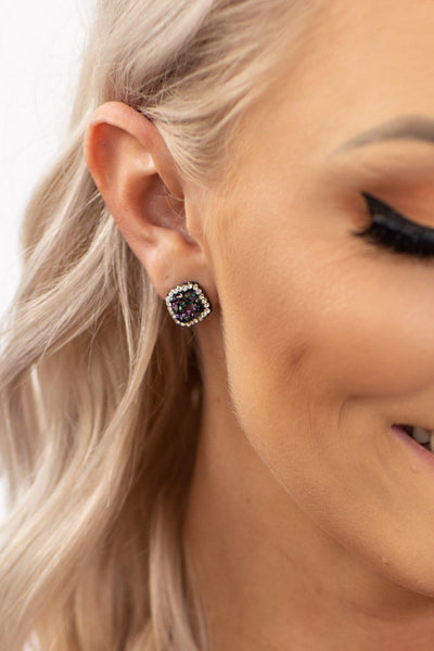 Leap of Faith Square Rhinestone Halo Earrings in Iridescent Black Druzy - Filly Flair