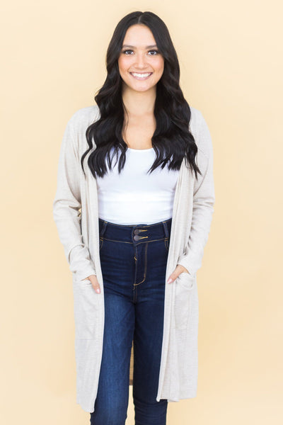 Filly Flair Exclusive Giving Brings Joy Slouchy Cardigan In Oatmeal - Filly Flair