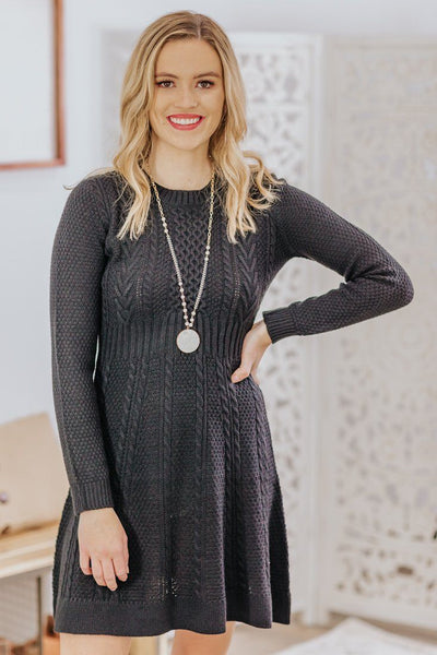 Another Look Long Sleeve Sweater Dress in Black - Filly Flair