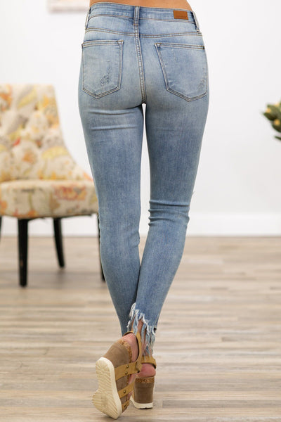 Jemma Judy Blue Light Wash Frayed Hem Distressed Skinny Jeans - Filly Flair