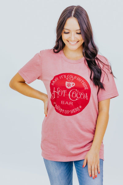"""Baby It's Cold Outside..""Short Sleeve Top in Heather Mauve - Filly Flair"