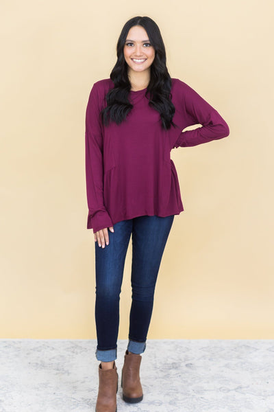 Breaking Free Baby Doll Tunic in Burgundy - Filly Flair
