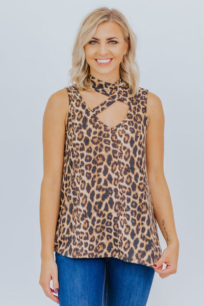 Wish For The Best Animal Print Tank Top in Brown - Filly Flair