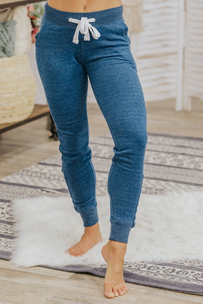 Get in Motion Lace Up Joggers in Denim - Filly Flair