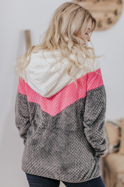 You Got This Color Block Popcorn Long Sleeve Sherpa in Pink Grey - Filly Flair