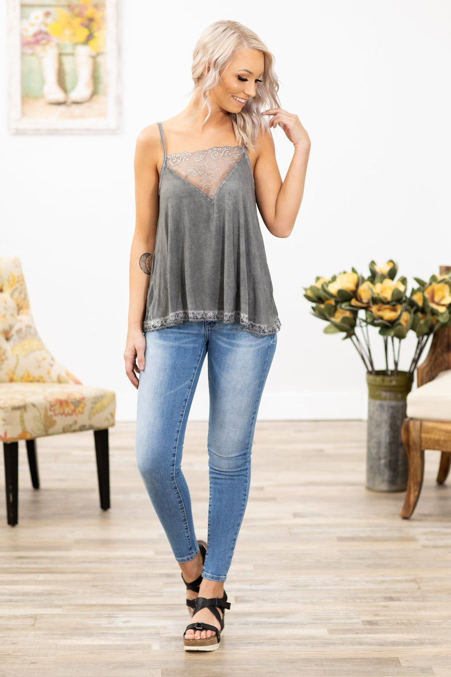 c3ab6d93fe95 POL  Tell The Truth Lace Panel Tank Top in Charcoal