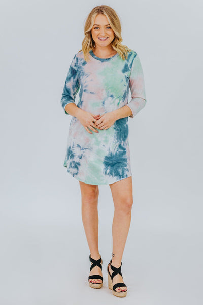 Cosmic Love Tie Dye Dress in Mint - Filly Flair