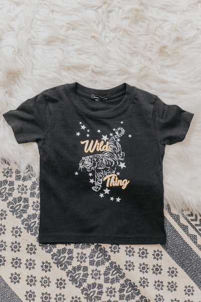 KIDS: 'Wild Thing' Graphic Tiger Short Sleeve Tee in Black - Filly Flair