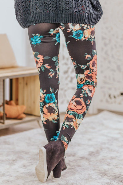 We Got It Good Floral Elastic High Waist Skinny Leggings in Black - Filly Flair