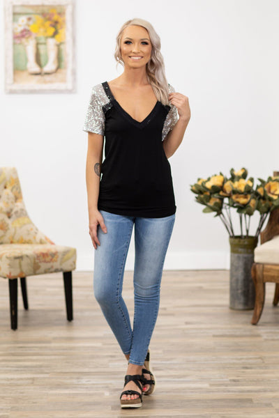POL: Hard Look Short Silver Sequin Sleeve V-Neck Top in Black - Filly Flair