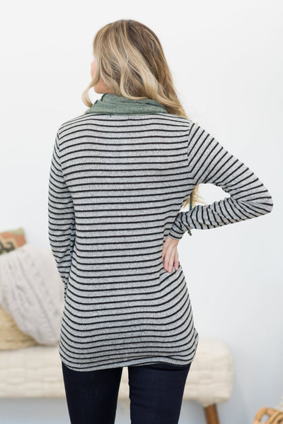 Some Say Chevron Color Block Striped Top in Olive - Filly Flair
