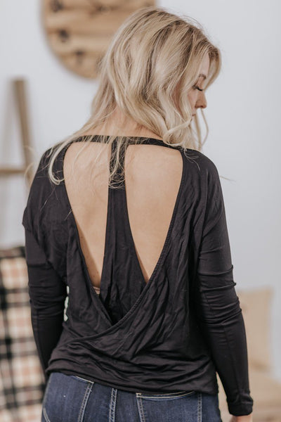 Feeling Hopeful Open Back Detail Long Sleeve Top in Black - Filly Flair