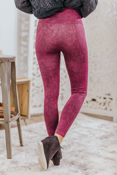 Riding Together Vintage Wash Stretchy Leggings in Burgundy - Filly Flair