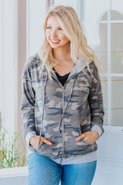 Better In My Rearview Mirror Zip Up Grey Trim Hoodie in Camo - Filly Flair