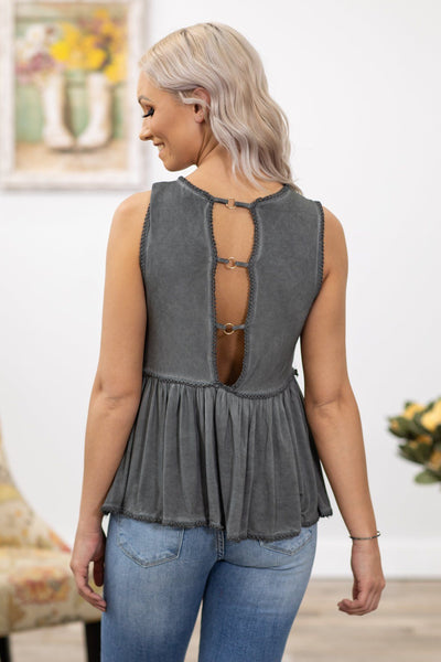 POL: Understand My Dreams Lace Detail Babydoll Tank Top in Charcoal - Filly Flair