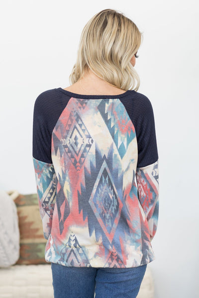 Don't Forget About It Aztec Print Long Sleeve Top in Navy - Filly Flair