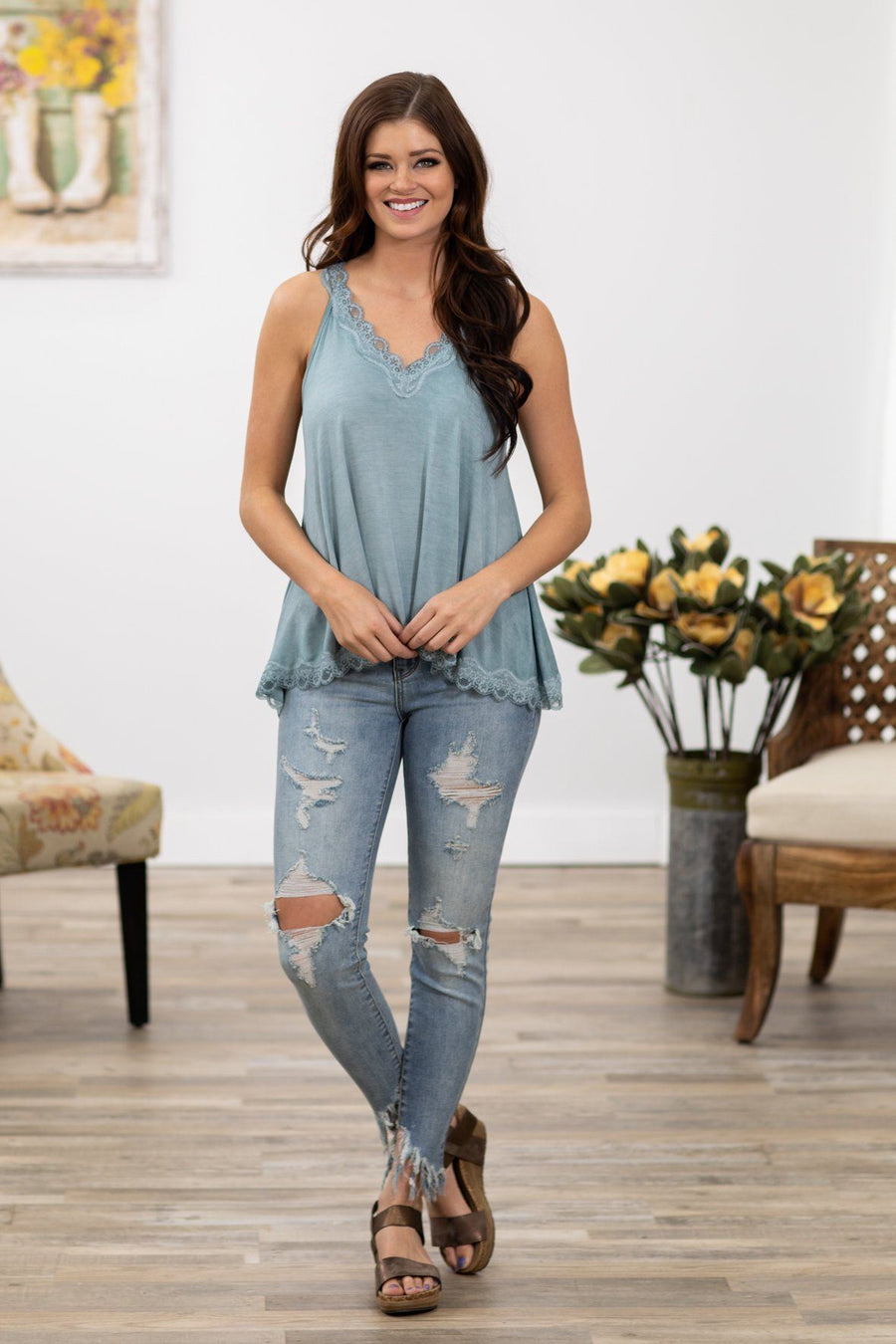 a33479e411927 POL  This Love Lace Trim V-Neck Tank Top in Dusty Blue