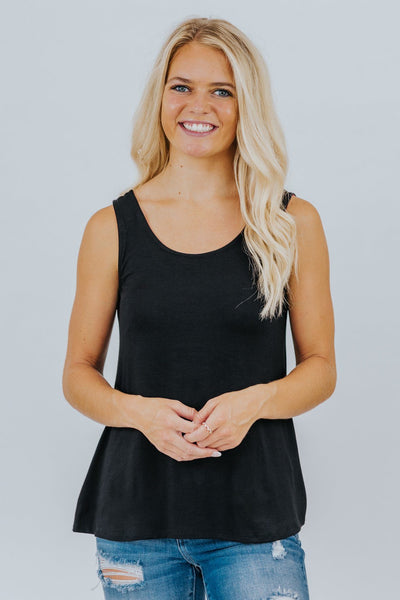 Love What You Do Criss Cross Detail Tank Top in Black - Filly Flair