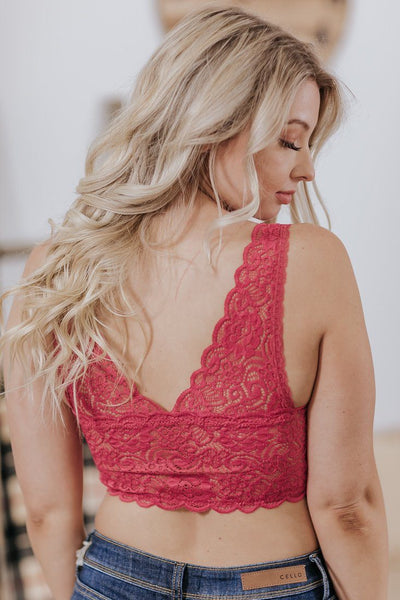 Dainty Love Seamless Lace Bralette in Ruby - Filly Flair