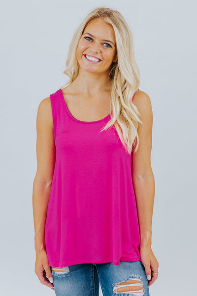 Love What You Do Criss Cross Detail Tank Top in Fuchsia - Filly Flair