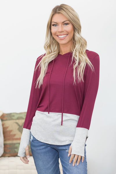 Game Day Fun Long Sleeve Top In Burgundy With Stripes - Filly Flair