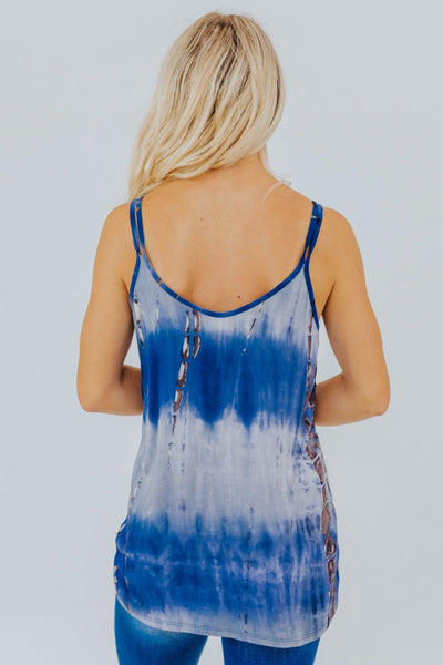 Nothing Compares To You Tie Dyed Tank In Blue - Filly Flair