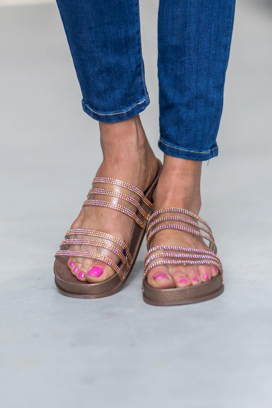 1a8416c3a6a16b She Talks Softly Double Clear Strap Crystal Detail Sandals in Rose Gold
