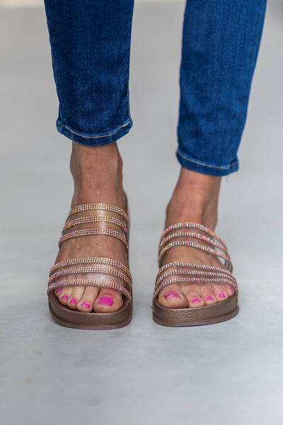 She Talks Softly Double Clear Strap Crystal Detail Sandals in Rose Gold - Filly Flair