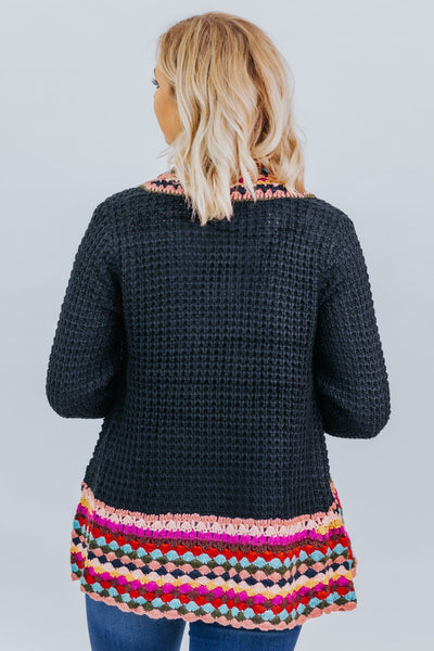 You Only Live Once Cardigan in Black - Filly Flair