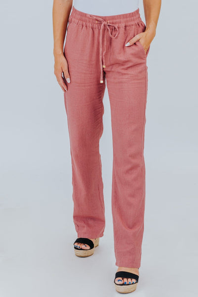 I Got What I Need Low Rise Linen Pants in Mauve - Filly Flair