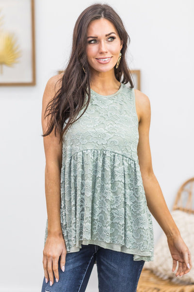Crazy About You Tank in Sage - Filly Flair