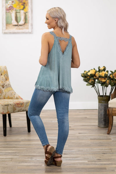POL: This Love Lace Trim V-Neck Tank Top in Dusty Blue - Filly Flair