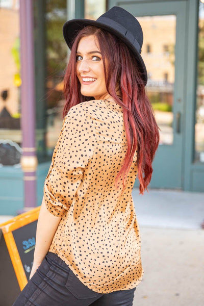 So Deep In Love Dotted 3/4 Sleeve High Low Blouse in Gold - Filly Flair
