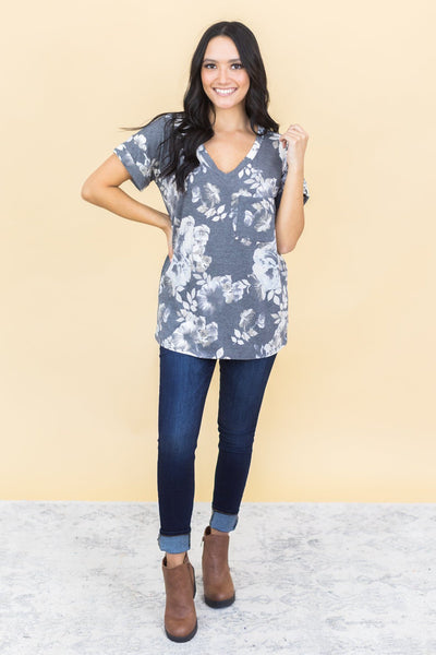 Been Wishing For You Floral Top in Black and Grey - Filly Flair