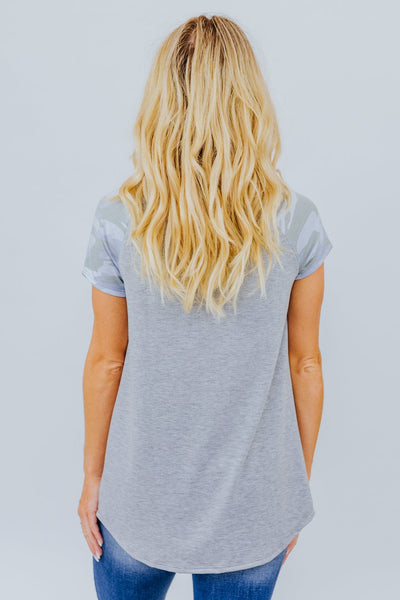 Finding My Way Back To You Camo Detail Short Sleeve Top in Grey - Filly Flair