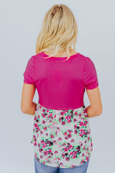 Don't Know How To Act Floral Top In Fuchsia - Filly Flair