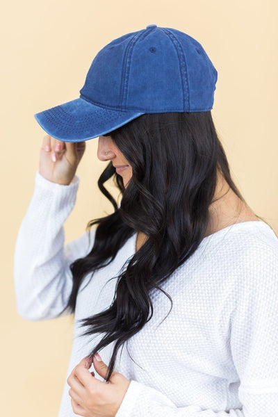 Weekend Duties Washed Baseball Cap in Blue - Filly Flair