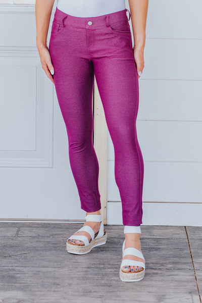 Be My Plus One Classic Skinny Jeggings in Plum - Filly Flair