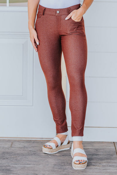 Be My Plus One Classic Skinny Jeggings in Coffee - Filly Flair
