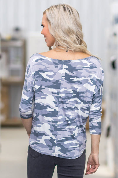 Long Forgotten 3/4 Sleeve Camo Tie Top in Grey White - Filly Flair