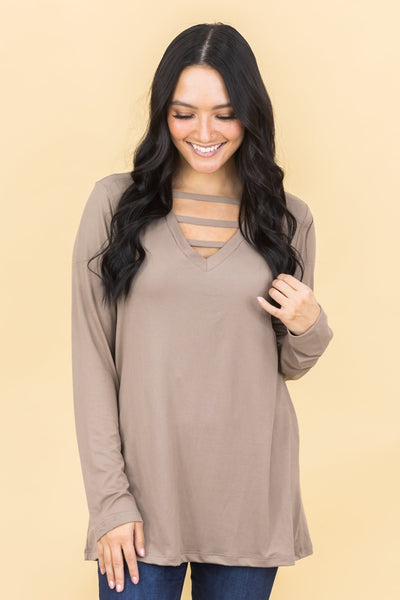 Living In Beverly Hills Long Sleeve Criss-Cross Front Top In Mocha - Filly Flair