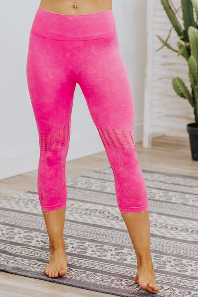Killin' It Mineral Wash Perforated Capri Leggings in Hot Pink - Filly Flair