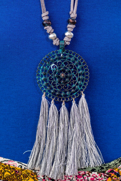 Boho Mandala Flower Pendant With Tassels Long Grey Necklace - Filly Flair