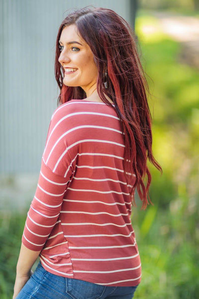 Tis' The Season Of Fall Striped Cold Shoulder Front Twist Detail Top in Rust - Filly Flair