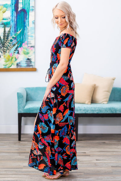Got You There Off The Shoulder Tropical Leaf Maxi Romper in Black - Filly Flair