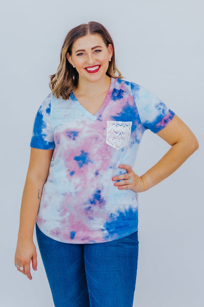 So Glad Tie Dye Crochet Front Pocket Short Sleeve Top in Blue & Pink - Filly Flair