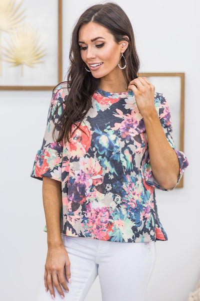 Always On The Rise Floral Ruffle Detail Short Sleeve Top in Charcoal - Filly Flair