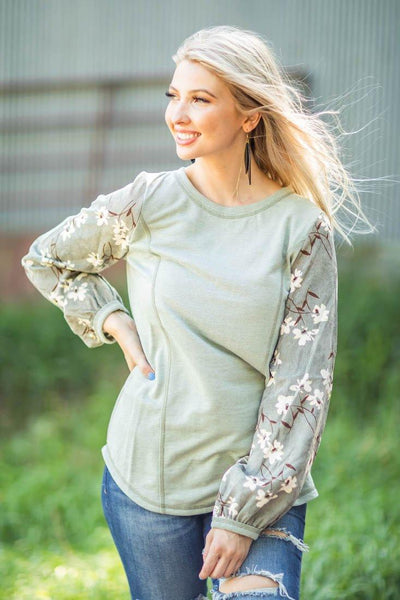 What A Coincidence Floral Soft Long Bell Sleeve Top in Sage Green - Filly Flair